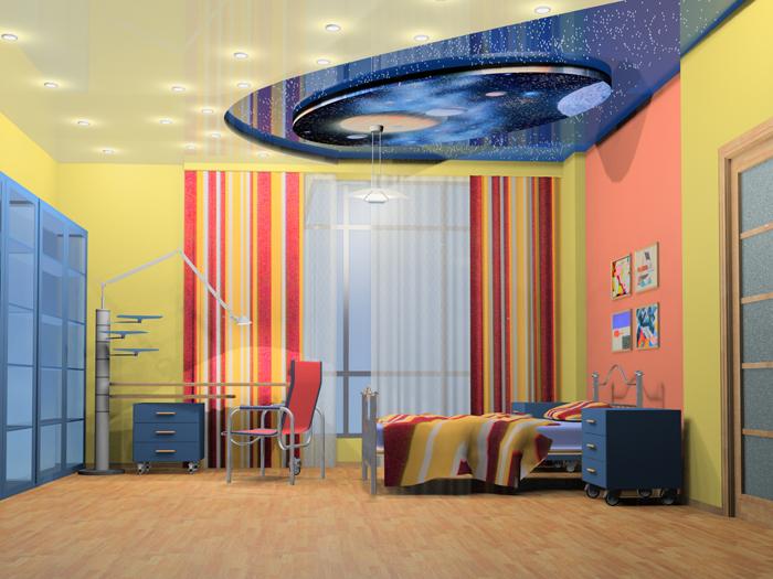 натяжной потолок фото в детской комнате